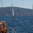 "SARONIC GULF,  GREECE - SEPTEMBER 23: Boats Competitors During of sailing regatta ""Viva Greece 2012"" on September 23, 2012 on Saronic Gulf,  Greece. — ストック写真"