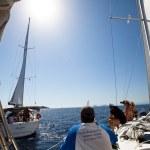 "SARONIC GULF, GREECE - SEPTEMBER 23: Sailors participate in sailing regatta ""Viva Greece 2012"" on September 23, 2012 on Saronic Gulf, Greece. — Stock Photo #13481774"