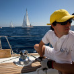 "SARONIC GULF, GREECE - SEPTEMBER 23: Sailors participate in sailing regatta ""Viva Greece 2012"" on September 23, 2012 on Saronic Gulf, Greece. — Stock Photo #13482095"