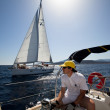 "SARONIC GULF,  GREECE - SEPTEMBER 23: Sailors participate in sailing regatta ""Viva Greece 2012"" on September 23, 2012 on Saronic Gulf, Greece. — Lizenzfreies Foto"