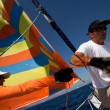 "SARONIC GULF, GREECE - SEPTEMBER 23: Sailors participate in sailing regatta ""Viva Greece 2012"" on September 23, 2012 on Saronic Gulf, Greece. — Stock Photo #13482192"
