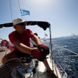 "SARONIC GULF, GREECE - SEPTEMBER 23: Sailors participate in sailing regatta ""Viva Greece 2012"" on September 23, 2012 on Saronic Gulf, Greece. — Foto Stock"