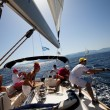 "SARONIC GULF, GREECE - SEPTEMBER 23: Sailors participate in sailing regatta ""Viva Greece 2012"" on September 23, 2012 on Saronic Gulf, Greece. — Zdjęcie stockowe"