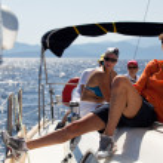 "SARONIC GULF, GREECE - SEPTEMBER 23: Sailors participate in sailing regatta ""Viva Greece 2012"" on September 23, 2012 on Saronic Gulf, Greece. — Foto de Stock"