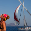 "SARONIC GULF,  GREECE - SEPTEMBER 23: Boats Competitors During of sailing regatta ""Viva Greece 2012"" on September 23, 2012 on Saronic Gulf,  Greece. — Lizenzfreies Foto"