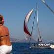 "SARONIC GULF, GREECE - SEPTEMBER 23: Boats Competitors During of sailing regatta ""Viva Greece 2012"" on September 23, 2012 on Saronic Gulf, Greece. — Stock Photo #13482302"