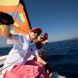 "SARONIC GULF, GREECE - SEPTEMBER 23: Sailors participate in sailing regatta ""Viva Greece 2012"" on September 23, 2012 on Saronic Gulf, Greece. — Foto de Stock"