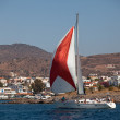 "SARONIC GULF, GREECE - SEPTEMBER 23: Sailors participate in sailing regatta ""Viva Greece 2012"" on September 23, 2012 on Saronic Gulf, Greece. — Stock Photo"