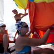 "SARONIC GULF,  GREECE - SEPTEMBER 23: Sailors participate in sailing regatta ""Viva Greece 2012"" on September 23, 2012 on Saronic Gulf, Greece. - Lizenzfreies Foto"