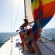 "SARONIC GULF,  GREECE - SEPTEMBER 23: Boats Competitors During of sailing regatta ""Viva Greece 2012"" on September 23, 2012 on Saronic Gulf,  Greece. — Foto Stock"