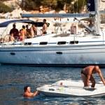 "SARONIC GULF, GREECE - SEPTEMBER 23: Sailors participate in sailing regatta ""Viva Greece 2012"" on September 23, 2012 on Saronic Gulf, Greece. — Stock Photo #13482741"