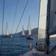 "SARONIC GULF,  GREECE - SEPTEMBER 23: Sailors participate in sailing regatta ""Viva Greece 2012"" on September 23, 2012 on Saronic Gulf, Greece. - Stock Photo"