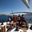 Unidentified sailor participates in sailing regatta Sail & Fun Trophy 2012 - Stock Photo