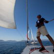 "Unidentified sailor participates in sailing regatt""VivGreece 2012"" — Stock Photo #13483053"