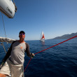 "Unidentified sailor participates in sailing regatta ""Viva Greece 2012"" — Stock Photo"