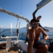 "Stock Photo: Unidentified sailor participates in sailing regatt""VivGreece 2012"""