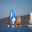 "SARONIC GULF, GREECE - SEPTEMBER 23: Boats Competitors During of sailing regatta ""Viva Greece 2012"" on September 23, 2012 on Saronic Gulf, Greece. — Stock Photo #13483215"