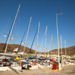 "SARONIC GULF,  GREECE - SEPTEMBER 23: Boats Competitors During of sailing regatta ""Viva Greece 2012"" on September 23, 2012 on Saronic Gulf,  Greece — Stockfoto"