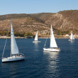 "SARONIC GULF,  GREECE - SEPTEMBER 23: Boats Competitors During of sailing regatta ""Viva Greece 2012"" on September 23, 2012 on Saronic Gulf,  Greece — 图库照片"