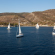 "SARONIC GULF,  GREECE - SEPTEMBER 23: Boats Competitors During of sailing regatta ""Viva Greece 2012"" on September 23, 2012 on Saronic Gulf,  Greece — Lizenzfreies Foto"