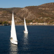 "SARONIC GULF,  GREECE - SEPTEMBER 23: Boats Competitors During of sailing regatta ""Viva Greece 2012"" on September 23, 2012 on Saronic Gulf,  Greece — Stok fotoğraf"