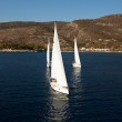 "SARONIC GULF,  GREECE - SEPTEMBER 23: Boats Competitors During of sailing regatta ""Viva Greece 2012"" on September 23, 2012 on Saronic Gulf,  Greece — Foto Stock"