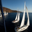 "SARONIC GULF,  GREECE - SEPTEMBER 23: Boats Competitors During of sailing regatta ""Viva Greece 2012"" on September 23, 2012 on Saronic Gulf,  Greece — Stock fotografie"