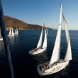 "SARONIC GULF,  GREECE - SEPTEMBER 23: Boats Competitors During of sailing regatta ""Viva Greece 2012"" on September 23, 2012 on Saronic Gulf,  Greece — Foto de Stock"