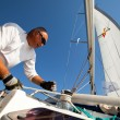 "SARONIC GULF,  GREECE - SEPTEMBER 23: Sailors participate in sailing regatta ""Viva Greece 2012"" on September 23, 2012 on Saronic Gulf, Greece — Stockfoto"