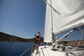"SARONIC GULF, GREECE - SEPTEMBER 23: Sailors participate in sailing regatta ""Viva Greece 2012"" on September 23, 2012 on Saronic Gulf, Greece. — Stock Photo"
