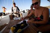 "SARONIC GULF, GREECE - SEPTEMBER 23: Boats Competitors During of sailing regatta ""Viva Greece 2012"" on September 23, 2012 on Saronic Gulf, Greece. — Stock Photo"