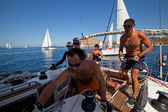 Unidentified sailor participates in sailing regatta Sail & Fun Trophy 2012 — Stock Photo