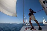 """Unidentified sailor participates in sailing regatta """"Viva Greece 2012"""" — Stock Photo"""