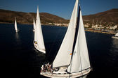 "SARONIC GULF, GREECE - SEPTEMBER 23: Boats Competitors During of sailing regatta ""Viva Greece 2012"" on September 23, 2012 on Saronic Gulf, Greece — Stock Photo"