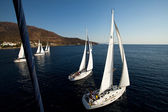 "SARONIC GULF, GREECE - SEPTEMBER 23: Boats Competitors During of sailing regatta ""Viva Greece 2012"" on September 23, 2012 on Saronic Gulf, Greece — Stock Photo"