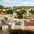 Top view (the Cathedral) from of the city hall in Lviv, Ukraine. — Stock Photo