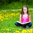 Teen-girl (looking at the camera) reads a book in the meadow — Stock Photo