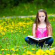 Teen-girl (looking at the camera) reads a book in the meadow — Photo