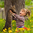 Stock Photo: Little girl and cat