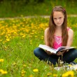 A girl 11 years old reads a book in the meadow — Stock Photo #15507455
