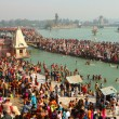 Stock Photo: Pujceremony on banks of Ganga, celebrate Makar Sankranti