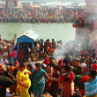 Puja ceremony on the banks of Ganga, celebrate Makar Sankranti — Stock Photo #15642411