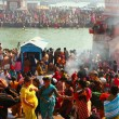 Puja ceremony on the banks of Ganga, celebrate Makar Sankranti - Stock Photo