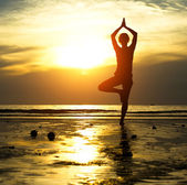 Akşam güzel yoga kadın silüeti — Stok fotoğraf