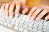 Photo of female hands typing text on a computer keyboard — Stock Photo