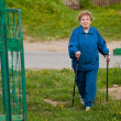 Active old woman (85 years old) nordic walking outdoors. — Stok fotoğraf