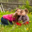 Stock Photo: Little girl with his sister in the park and teaching with finger new things on meadow