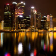 Stock Photo: Singapore business district in night time