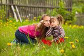 Niña con su hermana en el parque y enseñanza con cosas nuevas de dedo en prado — Foto de Stock