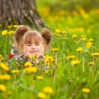 Funny lovely little five-year girl lying in grass — Stock Photo